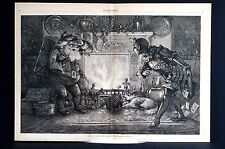Thomas Nast Christmas Engraving 1878 SANTA CLAUS FIREPLACE NEW YEARS Lg Print