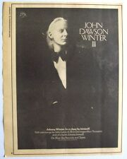 JOHNNY WINTER 1975 Poster Ad JOHN DAWSON WINTER III