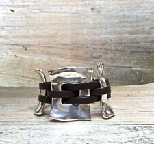 Silver Buckle Chunky Cuff Bracelet With Brown Woven Leather~ Uno de 50 Style