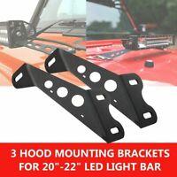 """20"""" 22"""" LED Work Light Bar HOOD Mounting Brackets For 2007-17 JEEP Wrangler JK"""