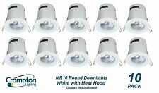 10 Pack x White Round Fixed Downlight Fittings with Heat Hood 12V MR16