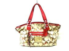 Auth COACH Poppy Signature Sateen Lurex F16295 Khaki Red Tote Bag