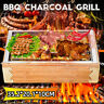 Outdoor Wooden Small BBQ Grill Barbecue Portable Charcoal Travel Picnic Stove