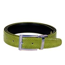 Men's Green Apple Snake Skin Leather Belt With Stylish Silver Buckle