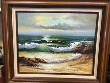 Oil on Canvas Painting Signed W. Lucas Beautiful Seascape Ocean Beach