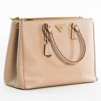 Prada 1BA786 F0770 Large Saffiano Lux Women's Double Zip Tote Bag Cameo Beige
