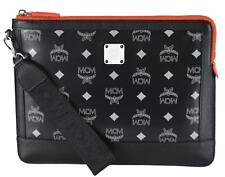 New MCM Black Orange Medium GALAXY Visetos Zip Top Wristlet Pouch Purse