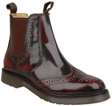 Mens Oxblood Leather Slip On Chelsea Ankle Brogue Boots UK Size 10 Air Sole