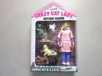 "CRAZY CAT LADY 5.5"" Action Figure with 6 Cats Accoutrements New in Package"