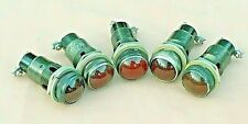 NOS Dial Co. NY 75W 125V Indicator Panel Lights and Red Glass Covers Lot of (5)