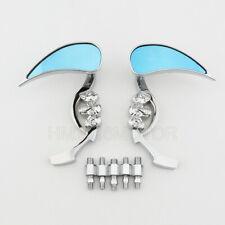 Chrome Teardrop Skull Rearview Mirrors for Harley Softail Springer Deuce FXSTD