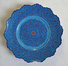MEENAKARI, superbe plat en cuivre émaillé bleu, ÉMAILLÉ BLEU .