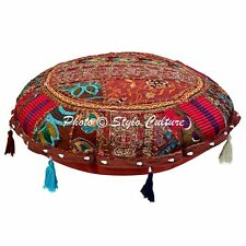 Indian Decor Ottoman Round Pillows Embroidered Beaded Floor Cushion Cover Throw