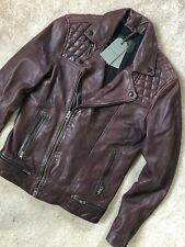 "ALL SAINTS MEN'S OXBLOOD RED ""CONROY"" LEATHER BIKER JACKET COAT - XS - NEW TAGS"