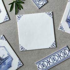 English Delft delftware blue & white traditional wall tile MARAZZI SAMPLE