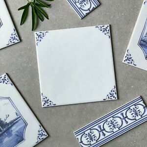 English Delft delftware blue & white traditional wall tile TILE BY TILE SAMPLE