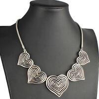Statement antique silver large five heart pendant valentine's choker necklace