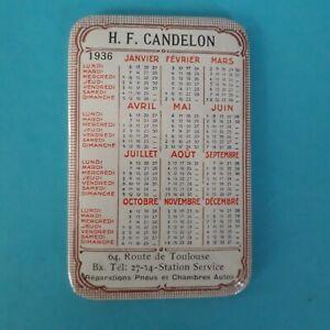 Petit miroir poche pub. ancien / calendrier 1936 Candelon Bordeaux / Pneus auto