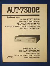 New listing Nec Aut-7300E Authentic Tuner Owners Manual Factory Original The Real Thing