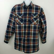 Vintage Sears Flannel Plaid Insulated Work Shirt Mens Size L Tall Blue