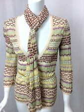 MISSONI ORANGE LABEL Mint/Yellow/Lilac Pointelle Belted Cardigan Scarf 42 US 6