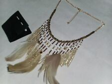 BNWT - Beige Tone Feather/Bead/Gold Tone Chain Statement Necklace/Earrings