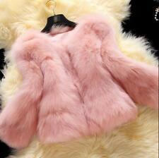 Women Faux Fur Furry Thicken Coat Short Jacket Peacoat Lined Outwear Sleeve New