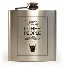 E-Volve Hip flask 6oz stainless steel Silver- Other people more interesting