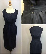 M&S Portfolio Ladies Navy Blue Linen Military Safari Shirt Dress Size 12/14