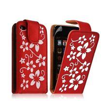 Housse coque étui pour Apple Ipod Touch 4G couleur rouge avec motifs fleurs + fi