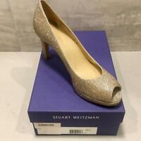 Stuart Weitzman Annamimic Women's Platform Gold Noir Bridal Pumps 9.5 M $398