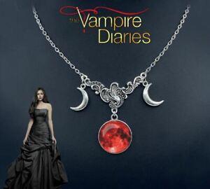 The Vampire Diaries Elena Gilbert Half Moon, Misted Ruby Sky Pendant & Chain Set