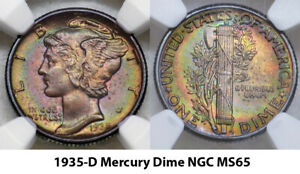 1935-P NGC MS66 MERCURY AWESOME COLORFUL TONED RAINBOW (JH) ***