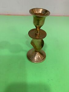 Vintage Solid Brass Candle Holder 4.75'' Tall Made In India
