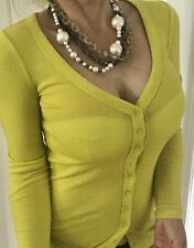 COUNTRY ROAD  WOMENS TOP FINE KNIT LIME YELOW WOOL BUTTONS SZ XS