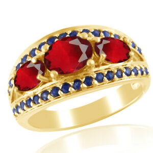 Ruby & Sapphire Three-Stone Engagement Band Ring 18K Gold Over Sterling Silver