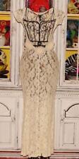 Betsey Johnson VINTAGE Dress FLORAL STRETCH LACE Ivory BACKLESS ROSE Wedding S