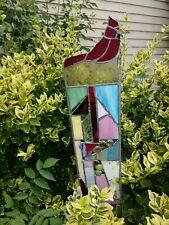 Stained Glass Garden Stake Suncatcher Bird Lovers Cardinal Garden Decoration