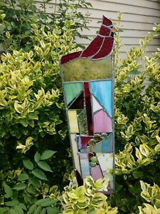 Stained Glass Garden Stake Suncatcher Bird Lovers Cardinal Garden Decoration