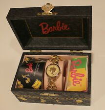 1994 Charming Barbie Fossil Charm Bracelet Watch & Jewelry Box