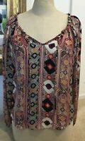 Parker Women's Long Sleeve Multi Color Silk Blouse Peasant Top Shirt Size XS