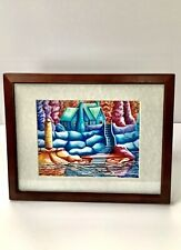 Framed Artwork Lauren Sweenie Colorful Cottage By The Creek Print Wall Decor