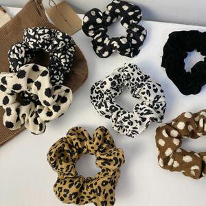 Women Corduroy Scrunchies Leopard Print Hair Ties Ring Rope Elastic Hairbands