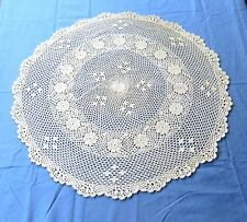 "Crochet Lace Tablecloth 30"" Round Beige Cotton Table Topper Center Piece"