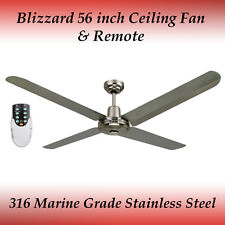 """Blizzard 316 Marine Grade Stainless Steel 56"""" Outdoor Ceiling Fan and Remote"""