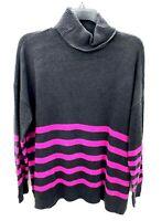 Vince Camuto Womens Petite Medium Gray Pink Striped Turtleneck Sweater