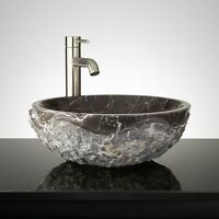 "Signature Hardware 334978 18"" Round Chiseled Marble Vessel Sink - Dark Emperador"