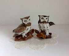 Homco Great Horned Owls Vintage 1970's Set Of Two #1114