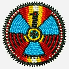 Handmade Beaded Thunder Bird Craft Applique Patch Rosette Beadwork R58/14