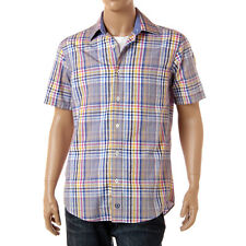 Bugatchi Uomo Blue Plaid Short Sleeve Shirt Button Front Shaped Fit Cotton M